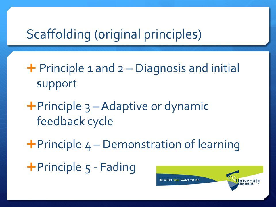 Scaffolding (original principles)  Principle 1 and 2 – Diagnosis and initial support  Principle 3 – Adaptive or dynamic feedback cycle  Principle 4