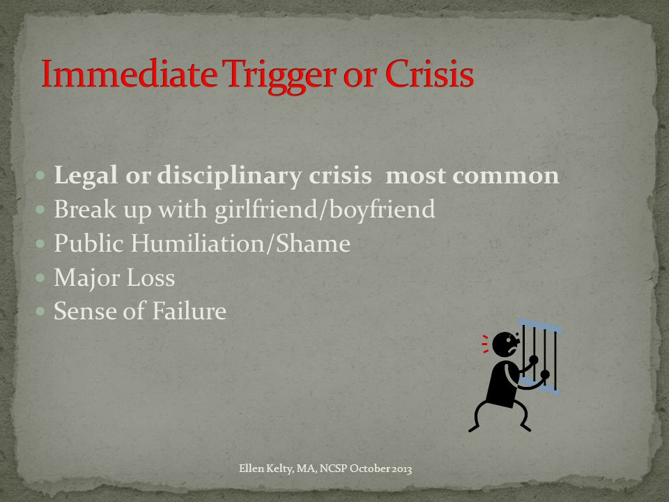 Legal or disciplinary crisis most common Break up with girlfriend/boyfriend Public Humiliation/Shame Major Loss Sense of Failure Ellen Kelty, MA, NCSP October 2013