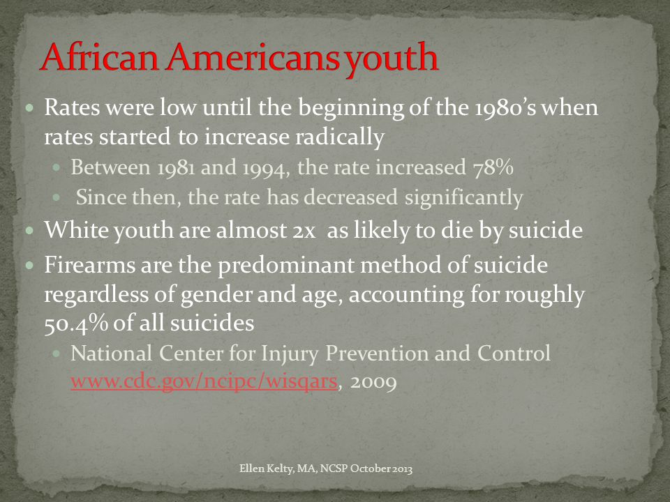 Rates were low until the beginning of the 1980's when rates started to increase radically Between 1981 and 1994, the rate increased 78% Since then, the rate has decreased significantly White youth are almost 2x as likely to die by suicide Firearms are the predominant method of suicide regardless of gender and age, accounting for roughly 50.4% of all suicides National Center for Injury Prevention and Control www.cdc.gov/ncipc/wisqars, 2009 www.cdc.gov/ncipc/wisqars Ellen Kelty, MA, NCSP October 2013