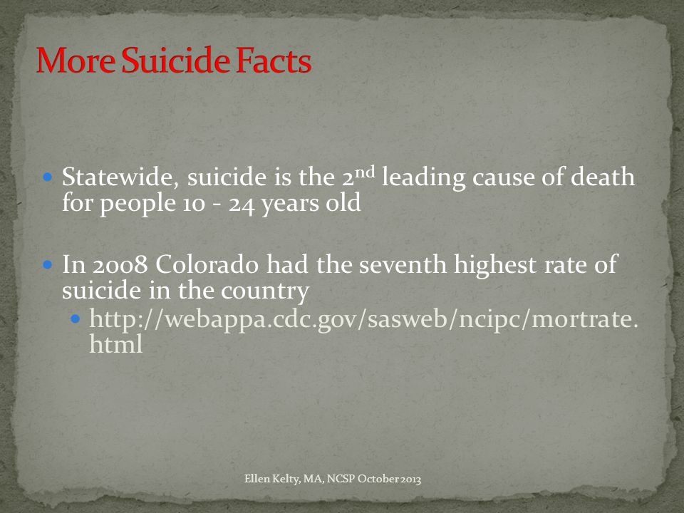 Statewide, suicide is the 2 nd leading cause of death for people 10 - 24 years old In 2008 Colorado had the seventh highest rate of suicide in the country http://webappa.cdc.gov/sasweb/ncipc/mortrate.