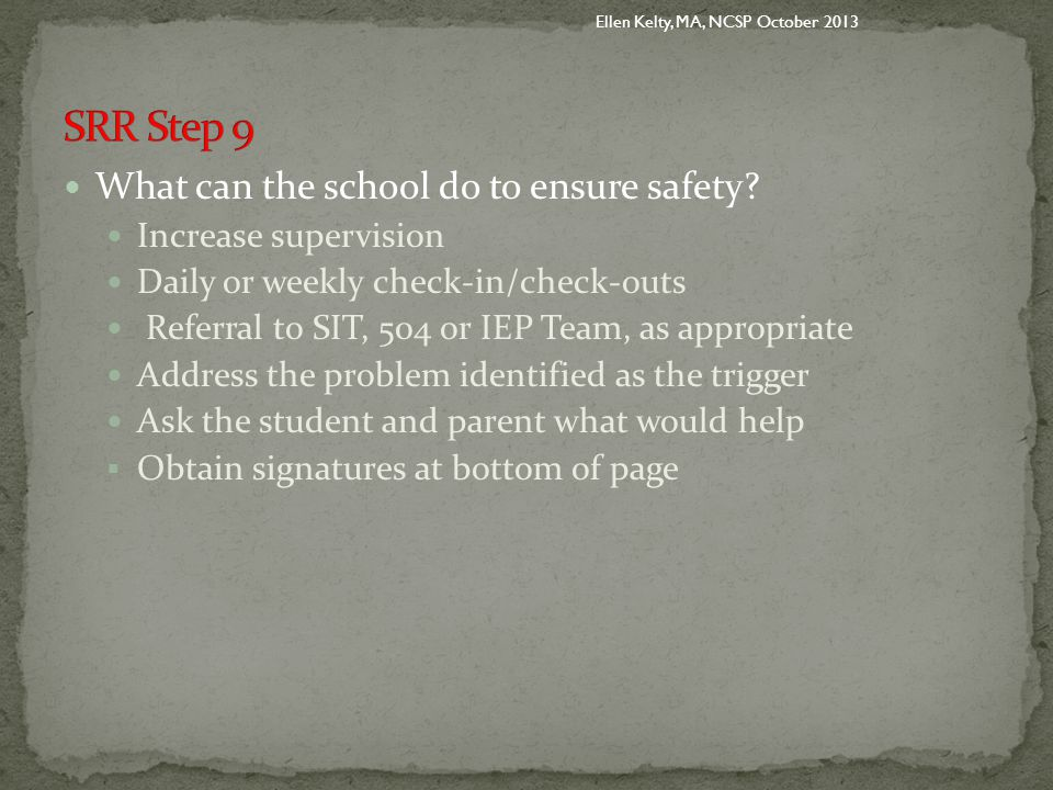 What can the school do to ensure safety.