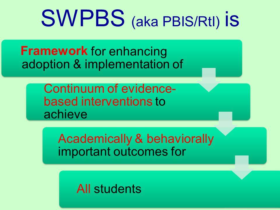 SWPBS (aka PBIS/RtI) is Framework