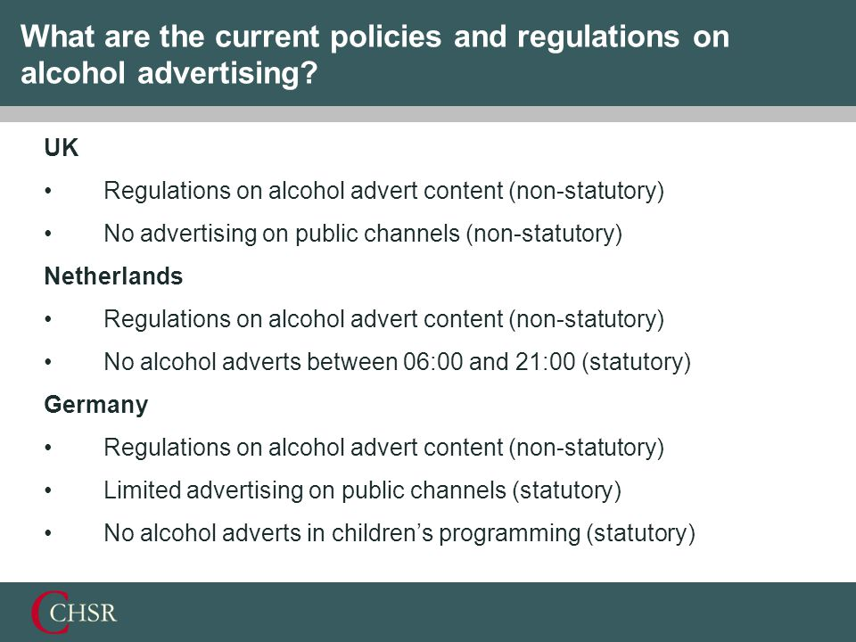 What are the current policies and regulations on alcohol advertising.