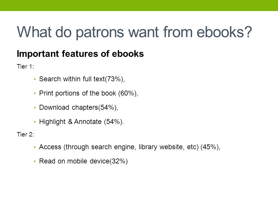 What do patrons want from ebooks.