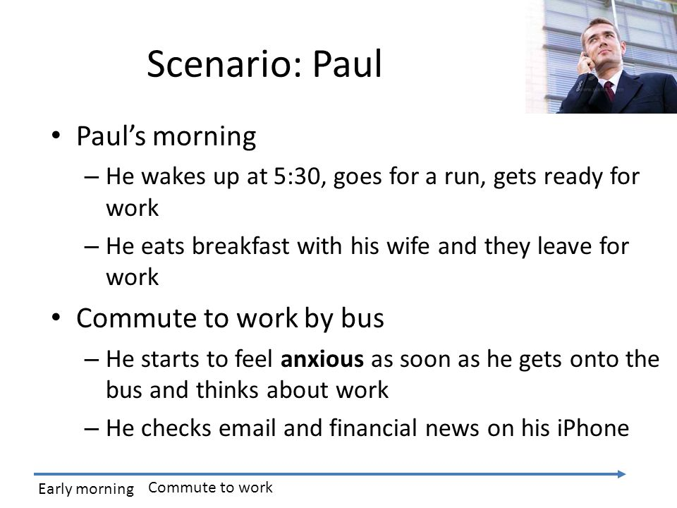 Scenario: Paul Paul's morning – He wakes up at 5:30, goes for a run, gets ready for work – He eats breakfast with his wife and they leave for work Commute to work by bus – He starts to feel anxious as soon as he gets onto the bus and thinks about work – He checks email and financial news on his iPhone Early morning Commute to work