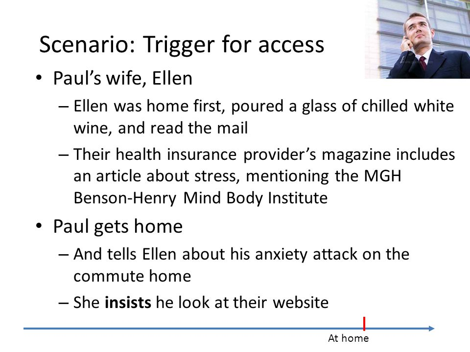 Scenario: Trigger for access Paul's wife, Ellen – Ellen was home first, poured a glass of chilled white wine, and read the mail – Their health insurance provider's magazine includes an article about stress, mentioning the MGH Benson-Henry Mind Body Institute Paul gets home – And tells Ellen about his anxiety attack on the commute home – She insists he look at their website At home