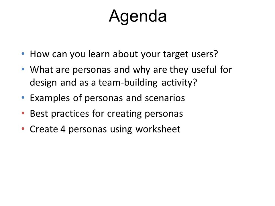 Persona example adapted from Claire Berman, MS