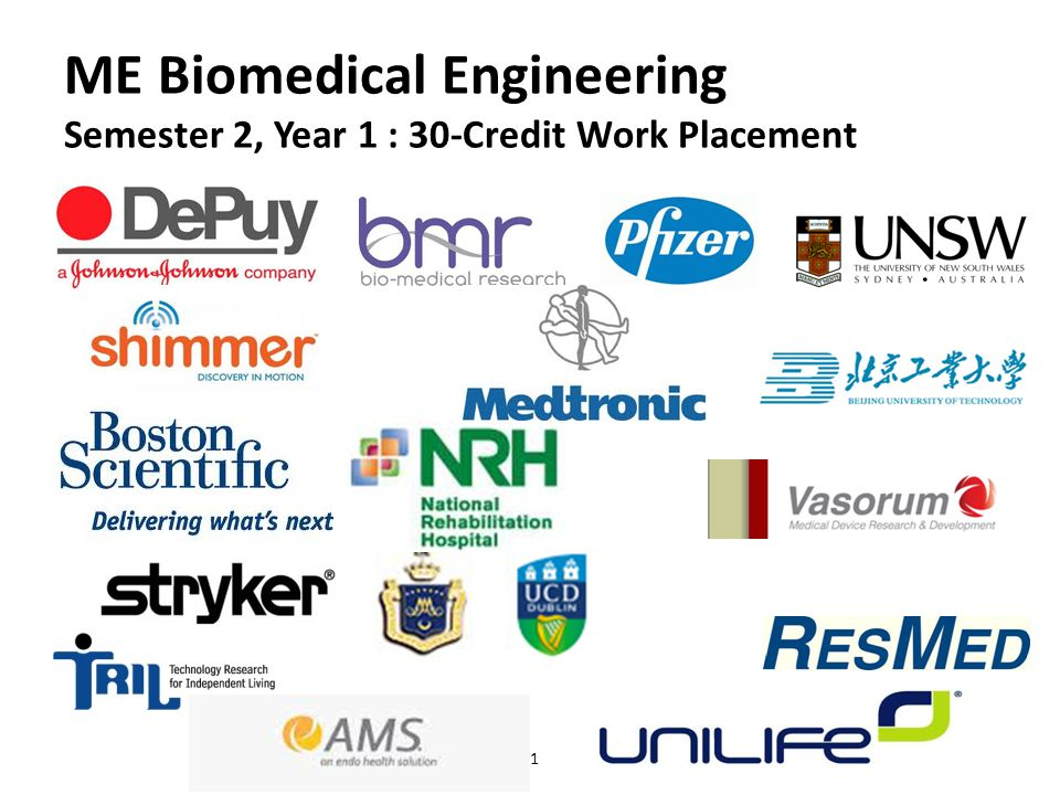 11 ME Biomedical Engineering Semester 2, Year 1 : 30-Credit Work Placement