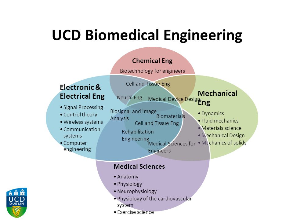 UCD Biomedical Engineering Chemical Eng Biotechnology for engineers Mechanical Eng Dynamics Fluid mechanics Materials science Mechanical Design Mechanics of solids Medical Sciences Anatomy Physiology Neurophysiology Physiology of the cardiovascular system Exercise science Electronic & Electrical Eng Signal Processing Control theory Wireless systems Communication systems Computer engineering Cell and Tissue Eng Neural Eng Medical Device Design Biomaterials Biosignal and Image Analysis Rehabilitation Engineering Medical Sciences for Engineers
