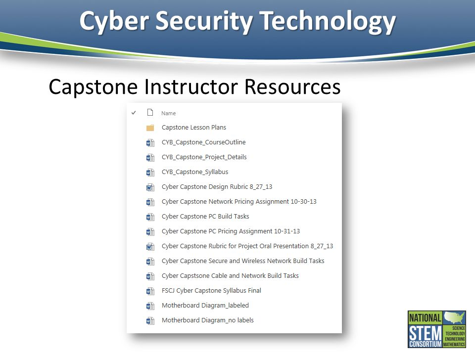 Cyber Security Technology Capstone Instructor Resources
