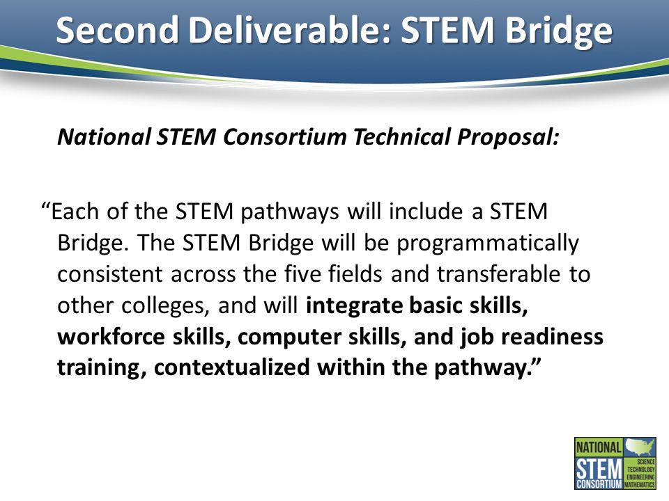 "Second Deliverable: STEM Bridge National STEM Consortium Technical Proposal: ""Each of the STEM pathways will include a STEM Bridge. The STEM Bridge wi"
