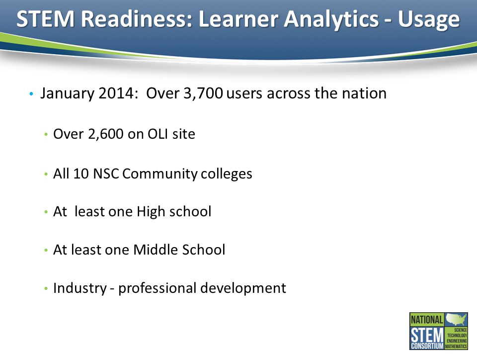 STEM Readiness: Learner Analytics - Usage January 2014: Over 3,700 users across the nation Over 2,600 on OLI site All 10 NSC Community colleges At lea