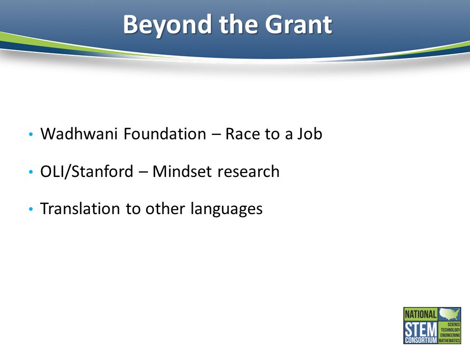 Beyond the Grant Wadhwani Foundation – Race to a Job OLI/Stanford – Mindset research Translation to other languages