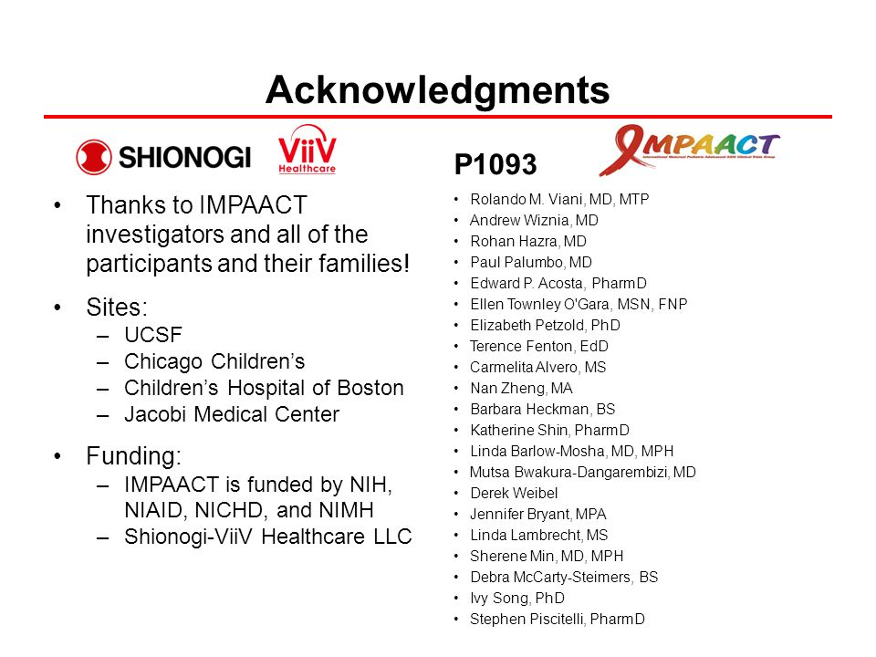 Acknowledgments Thanks to IMPAACT investigators and all of the participants and their families.