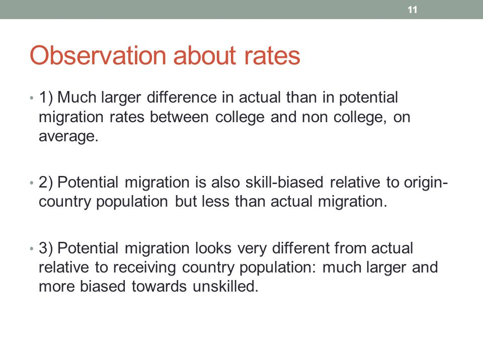 Observation about rates 1) Much larger difference in actual than in potential migration rates between college and non college, on average.