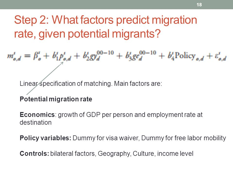 Step 2: What factors predict migration rate, given potential migrants.