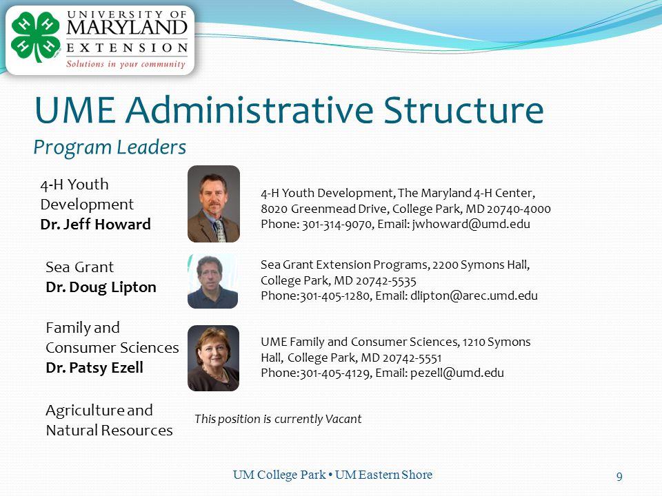UM College Park UM Eastern Shore 9 UME Administrative Structure Program Leaders 4-H Youth Development Dr.