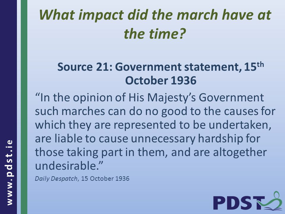 www. pdst. ie What impact did the march have at the time.