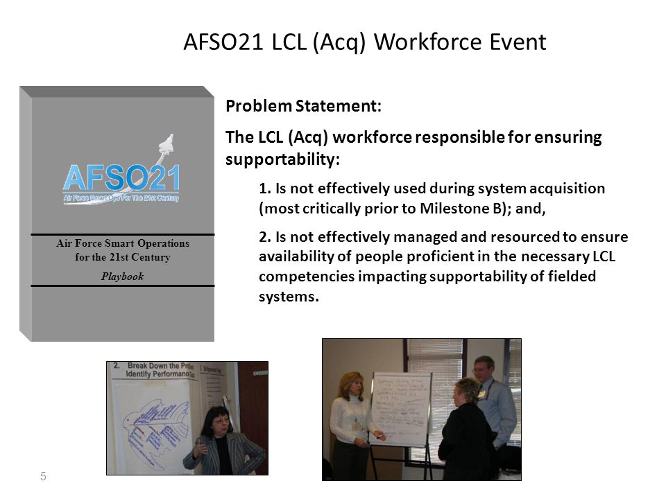5 Air Force Smart Operations for the 21st Century Playbook AFSO21 LCL (Acq) Workforce Event Problem Statement: The LCL (Acq) workforce responsible for ensuring supportability: 1.