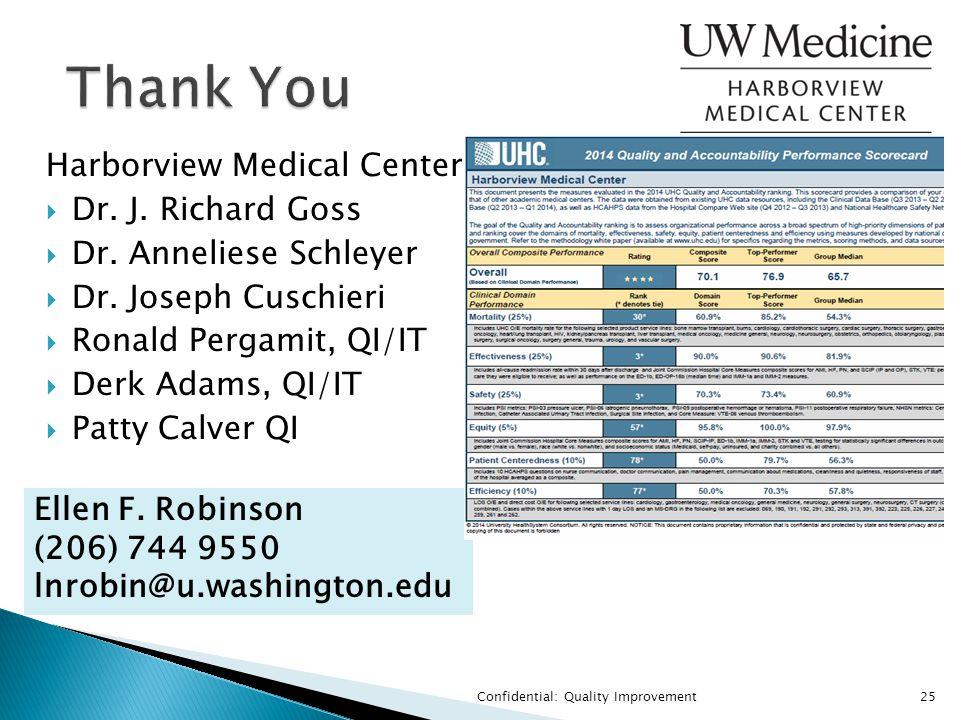 Confidential: Quality Improvement25 Thank You Harborview Medical Center  Dr. J. Richard Goss  Dr. Anneliese Schleyer  Dr. Joseph Cuschieri  Ronald