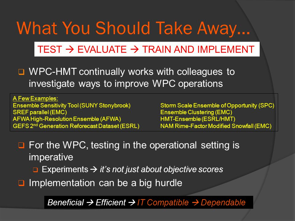 What You Should Take Away…  WPC-HMT continually works with colleagues to investigate ways to improve WPC operations A Few Examples: Ensemble Sensitivity Tool (SUNY Stonybrook)Storm Scale Ensemble of Opportunity (SPC) SREF parallel (EMC)Ensemble Clustering (EMC) AFWA High-Resolution Ensemble (AFWA)HMT-Ensemble (ESRL/HMT) GEFS 2 nd Generation Reforecast Dataset (ESRL)NAM Rime-Factor Modified Snowfall (EMC)  For the WPC, testing in the operational setting is imperative  Experiments  it's not just about objective scores  Implementation can be a big hurdle TEST  EVALUATE  TRAIN AND IMPLEMENT Beneficial  Efficient  IT Compatible  Dependable