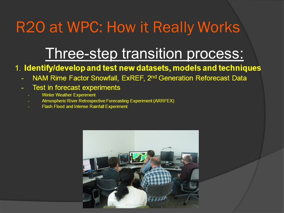 R2O at WPC: How it Really Works Three-step transition process: 1.