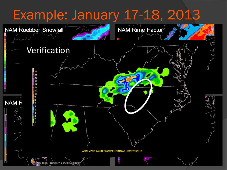 Example: January 17-18, 2013 NAM Roebber SnowfallNAM Rime Factor NAM Rime Factor SLR NAM RF-modified Snowfall