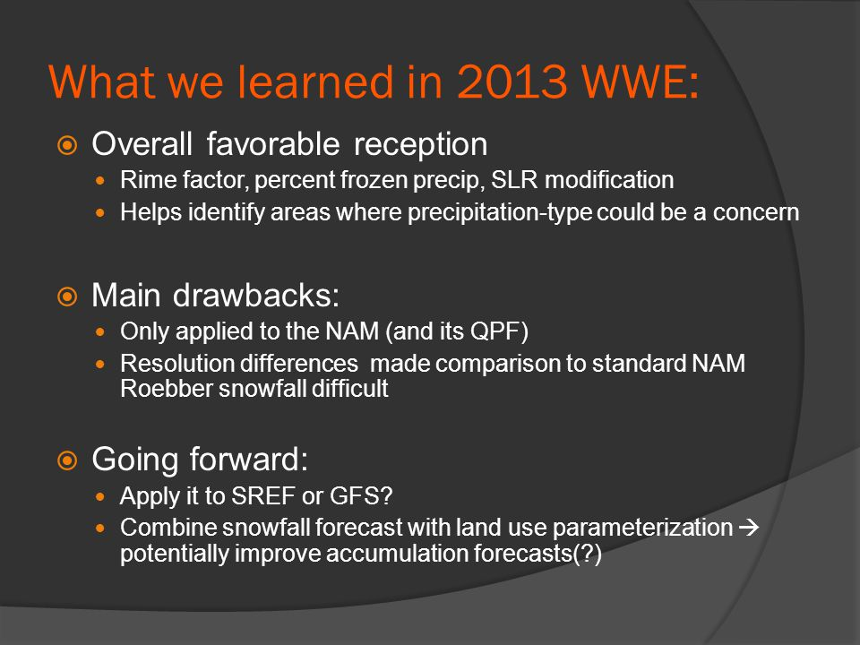 What we learned in 2013 WWE:  Overall favorable reception Rime factor, percent frozen precip, SLR modification Helps identify areas where precipitati