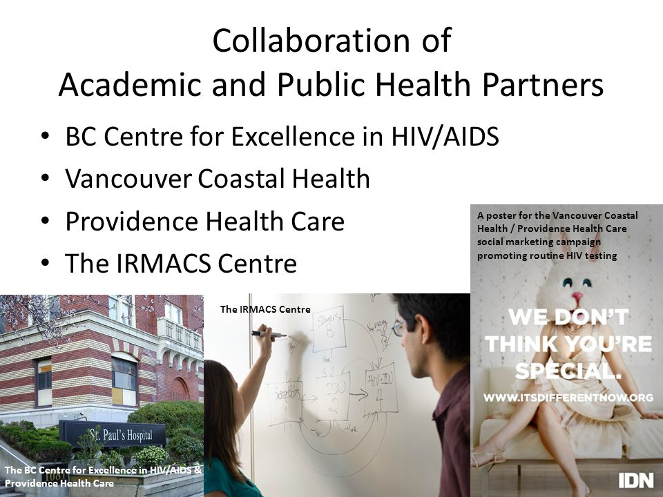 Collaboration of Academic and Public Health Partners BC Centre for Excellence in HIV/AIDS Vancouver Coastal Health Providence Health Care The IRMACS C