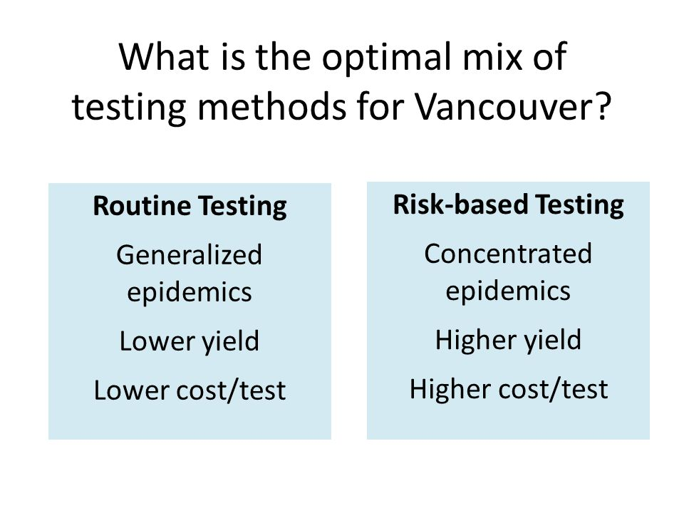 Routine Testing Generalized epidemics Lower yield Lower cost/test Risk-based Testing Concentrated epidemics Higher yield Higher cost/test What is the optimal mix of testing methods for Vancouver?