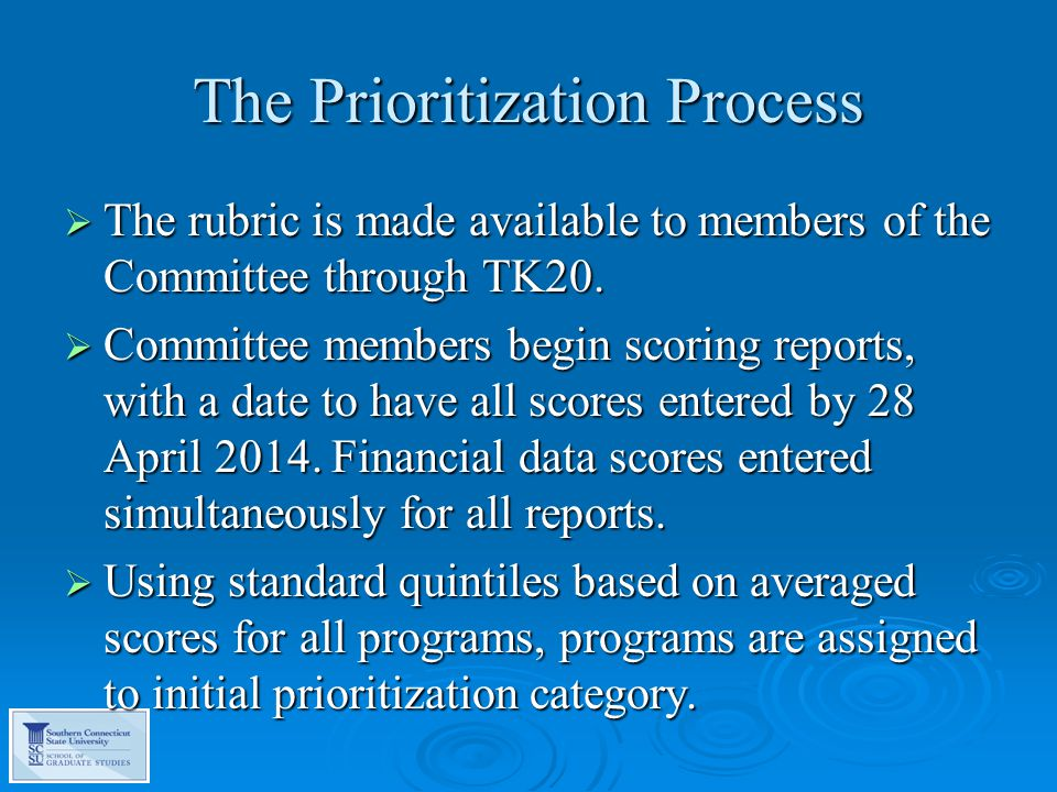 The Prioritization Process  The rubric is made available to members of the Committee through TK20.
