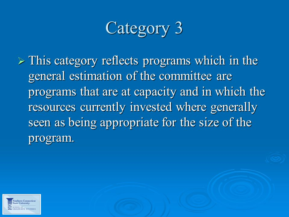 Category 3  This category reflects programs which in the general estimation of the committee are programs that are at capacity and in which the resources currently invested where generally seen as being appropriate for the size of the program.