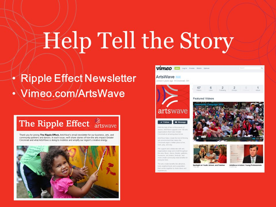 Ripple Effect Newsletter Vimeo.com/ArtsWave Help Tell the Story