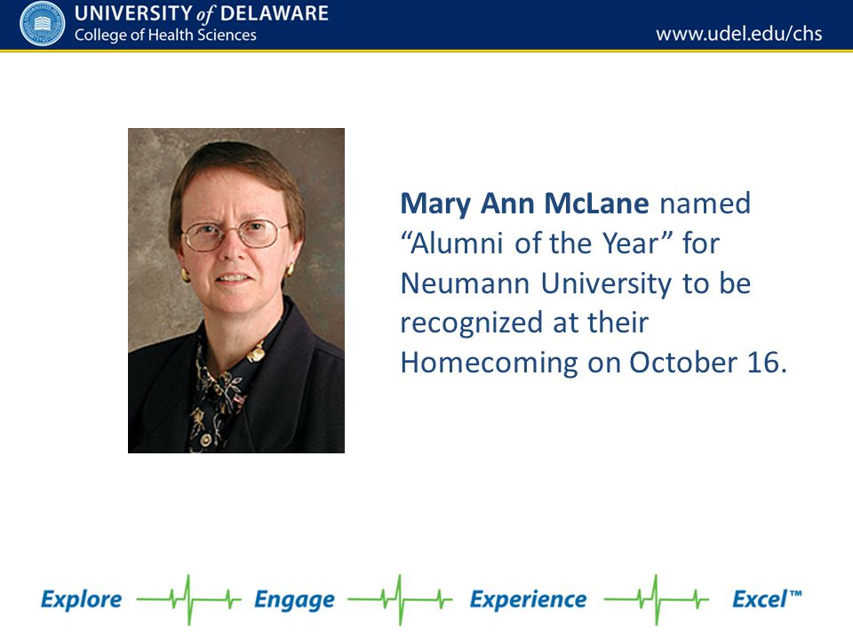 """Mary Ann McLane named """"Alumni of the Year"""" for Neumann University to be recognized at their Homecoming on October 16."""
