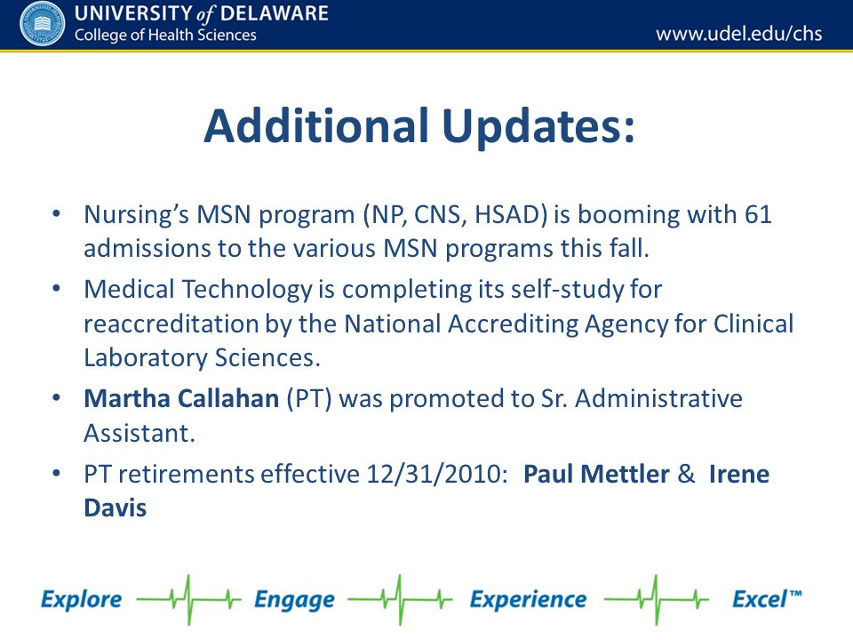 Nursing's MSN program (NP, CNS, HSAD) is booming with 61 admissions to the various MSN programs this fall. Medical Technology is completing its self-s