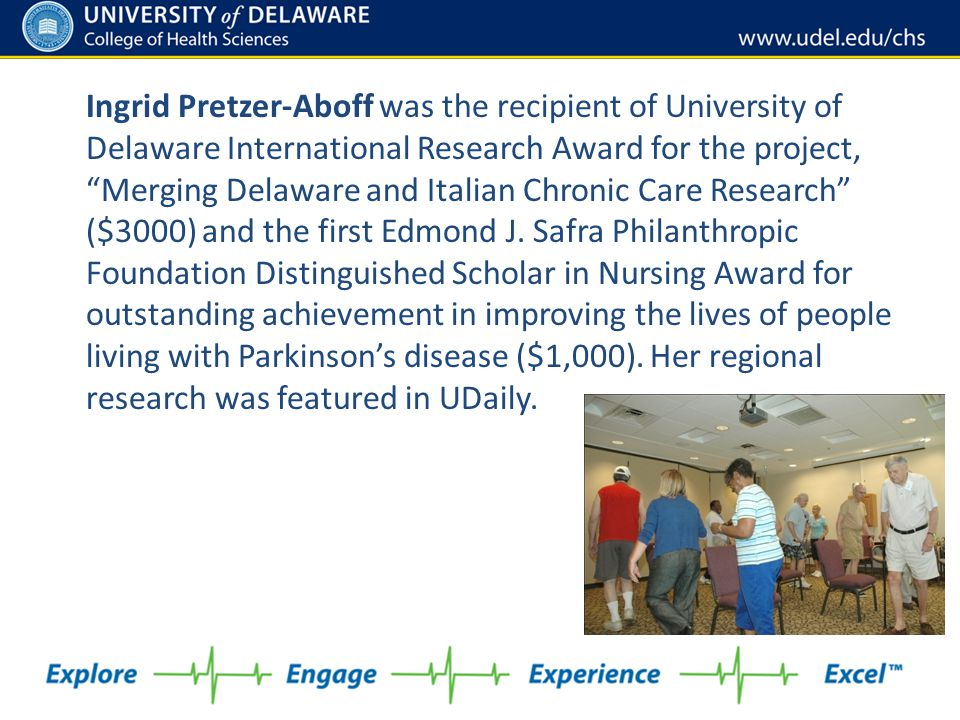 """Ingrid Pretzer-Aboff was the recipient of University of Delaware International Research Award for the project, """"Merging Delaware and Italian Chronic C"""