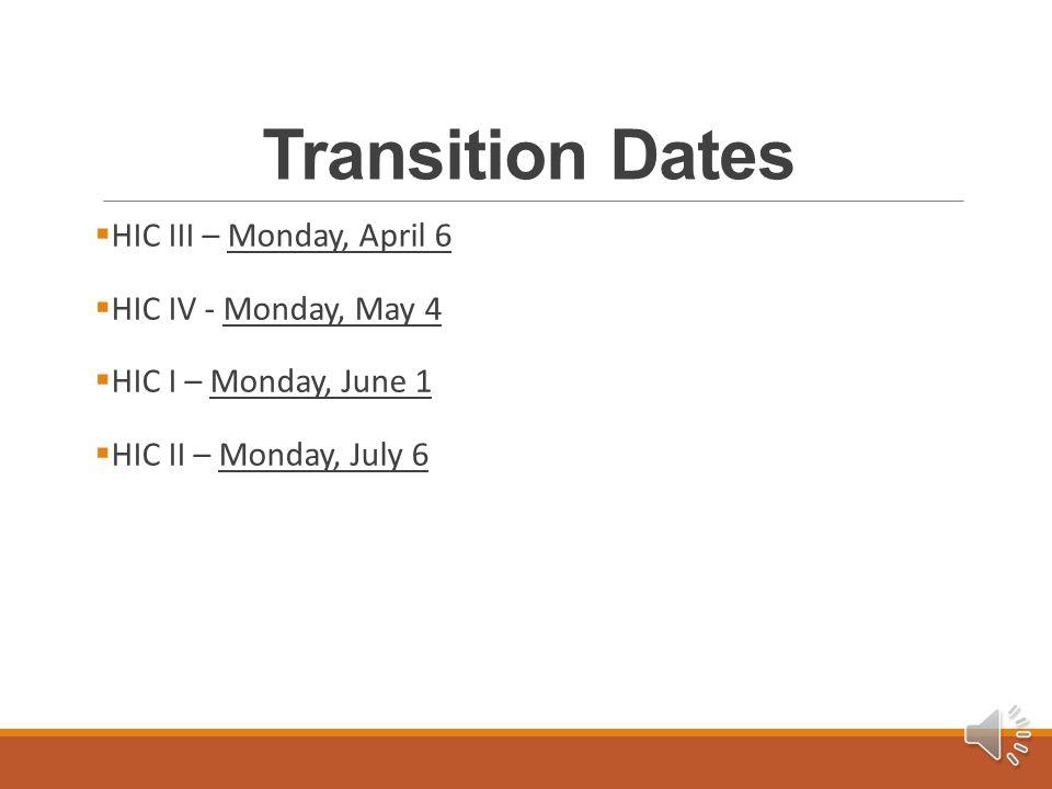 Transition Dates  HIC III – Monday, April 6  HIC IV - Monday, May 4  HIC I – Monday, June 1  HIC II – Monday, July 6