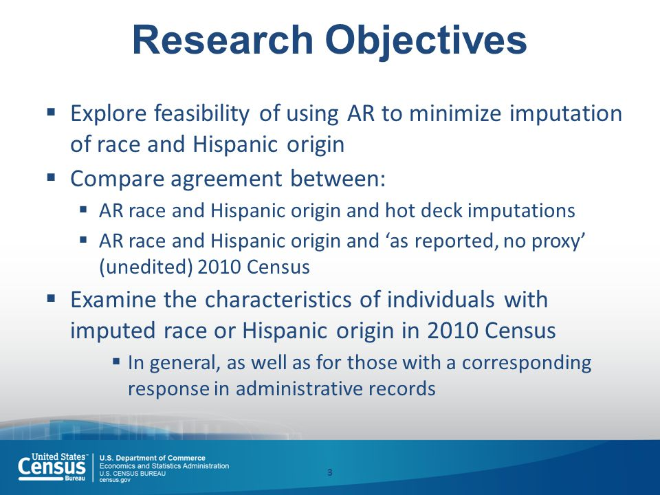 Research Objectives  Explore feasibility of using AR to minimize imputation of race and Hispanic origin  Compare agreement between:  AR race and Hispanic origin and hot deck imputations  AR race and Hispanic origin and 'as reported, no proxy' (unedited) 2010 Census  Examine the characteristics of individuals with imputed race or Hispanic origin in 2010 Census  In general, as well as for those with a corresponding response in administrative records 3