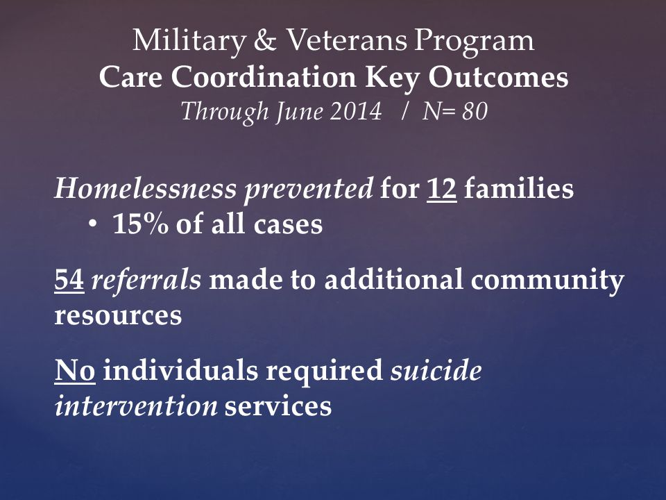 Homelessness prevented for 12 families 15% of all cases 54 referrals made to additional community resources No individuals required suicide intervention services Military & Veterans Program Care Coordination Key Outcomes Through June 2014 / N= 80