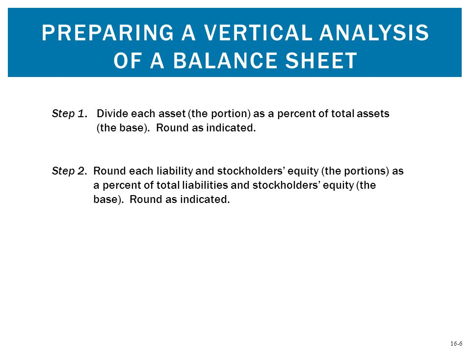 16-6 PREPARING A VERTICAL ANALYSIS OF A BALANCE SHEET Step 2. Round each liability and stockholders' equity (the portions) as a percent of total liabi