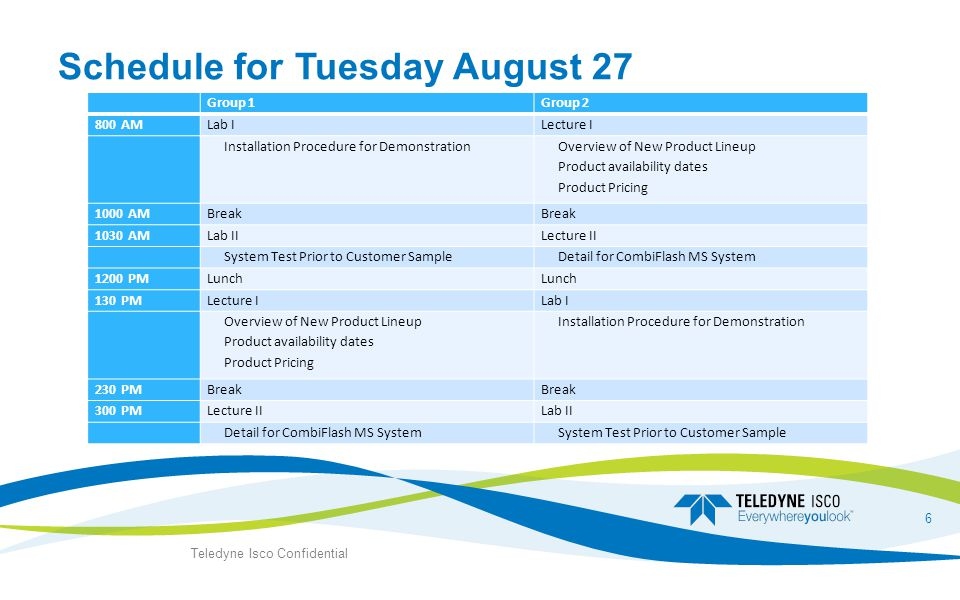 Schedule for Tuesday August 27 Group 1Group 2 800 AMLab ILecture I Installation Procedure for Demonstration Overview of New Product Lineup Product availability dates Product Pricing 1000 AMBreak 1030 AMLab IILecture II System Test Prior to Customer Sample Detail for CombiFlash MS System 1200 PMLunch 130 PMLecture ILab I Overview of New Product Lineup Product availability dates Product Pricing Installation Procedure for Demonstration 230 PMBreak 300 PMLecture IILab II Detail for CombiFlash MS System System Test Prior to Customer Sample Teledyne Isco Confidential 6