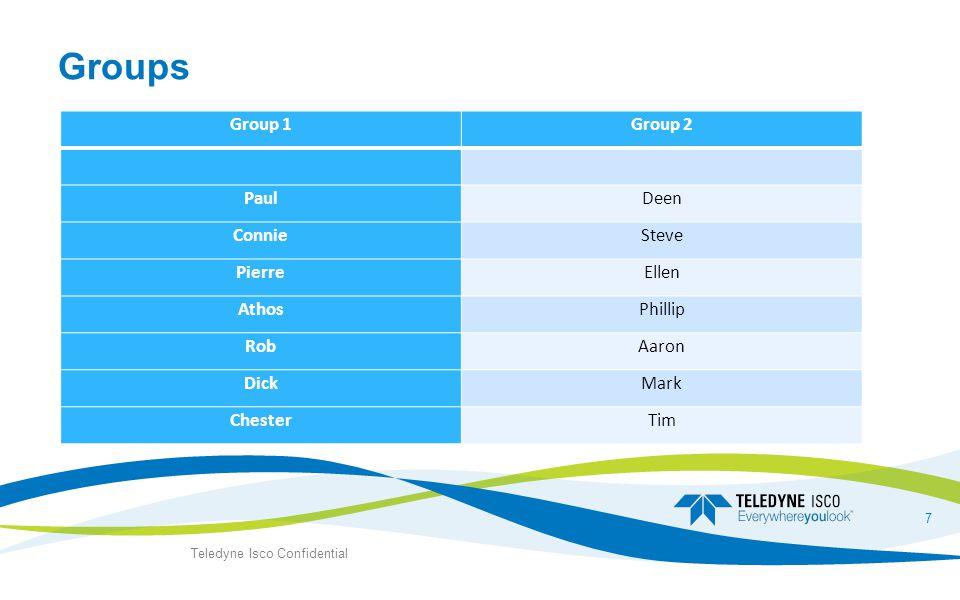 Groups Group 1Group 2 PaulDeen ConnieSteve PierreEllen AthosPhillip RobAaron DickMark ChesterTim Teledyne Isco Confidential 7
