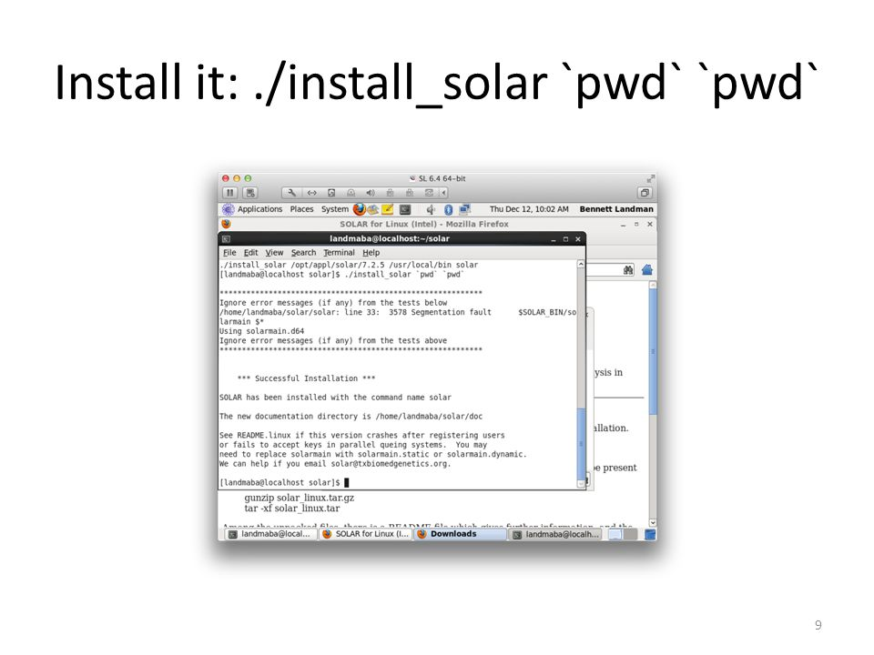Install it:./install_solar `pwd` `pwd` 9