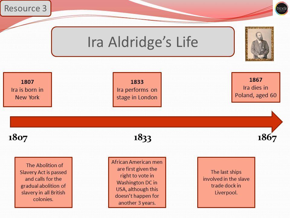 Ira Aldridge's Life Resource 3 1807 1833 1867 The last ships involved in the slave trade dock in Liverpool.