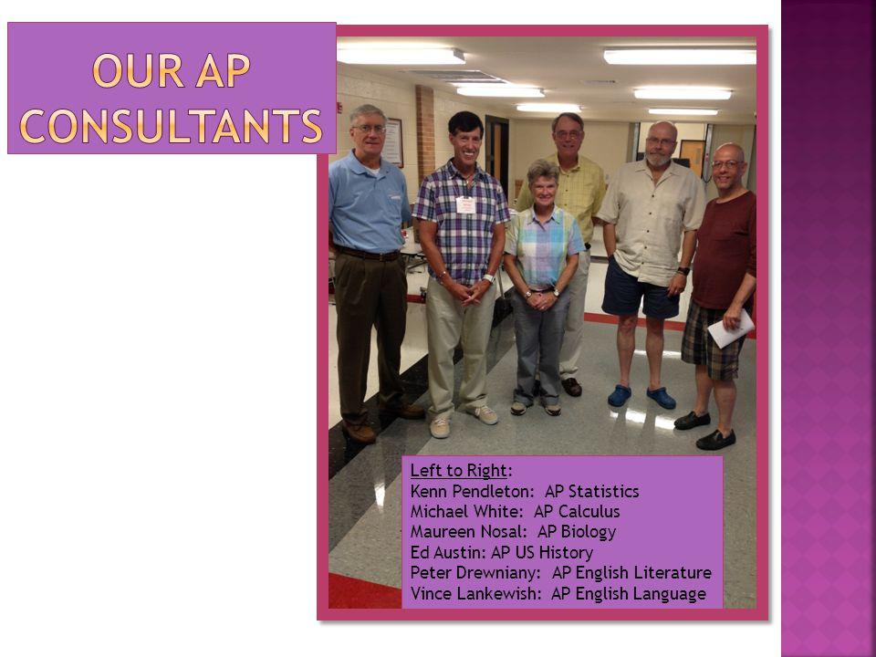 Left to Right: Kenn Pendleton: AP Statistics Michael White: AP Calculus Maureen Nosal: AP Biology Ed Austin: AP US History Peter Drewniany: AP English