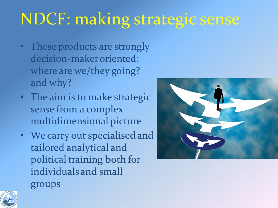 NDCF: making strategic sense These products are strongly decision-maker oriented: where are we/they going.