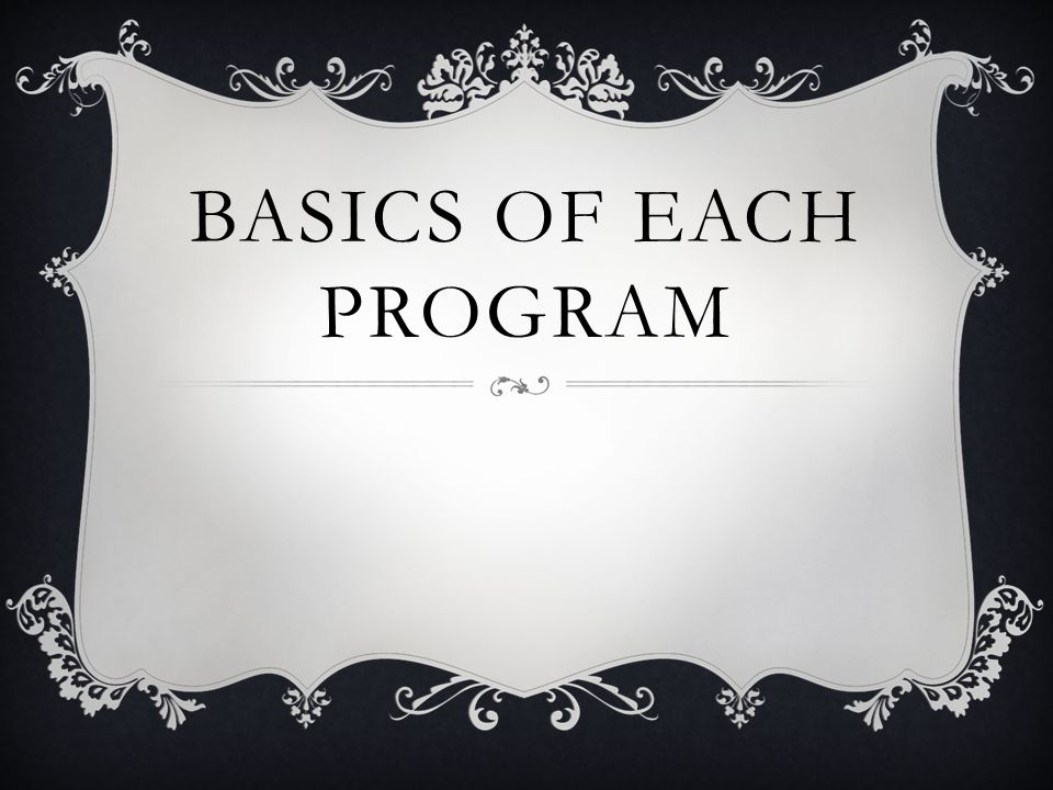 BASICS OF EACH PROGRAM