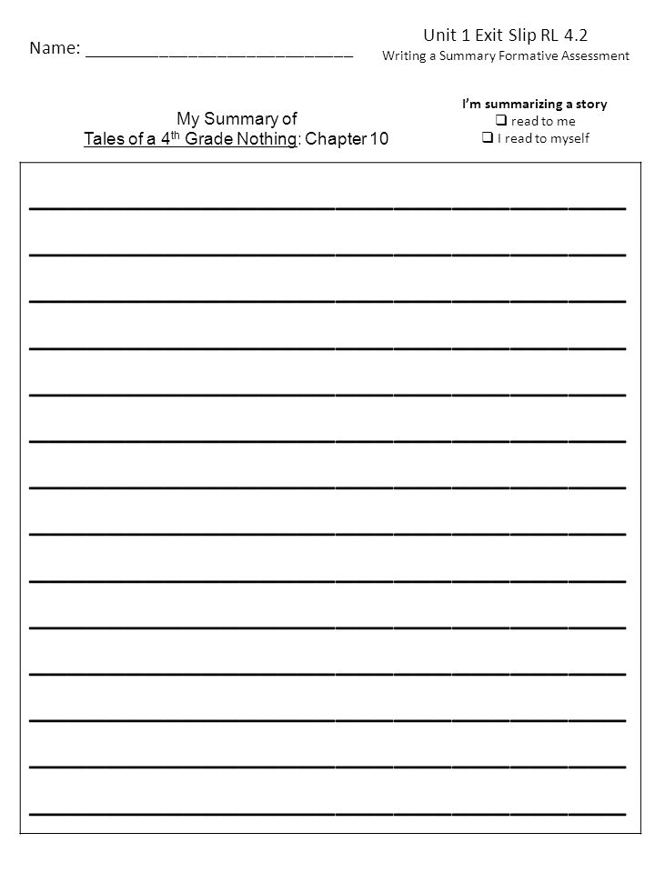 Unit 1 Exit Slip What is the most important thing that happened in you book.