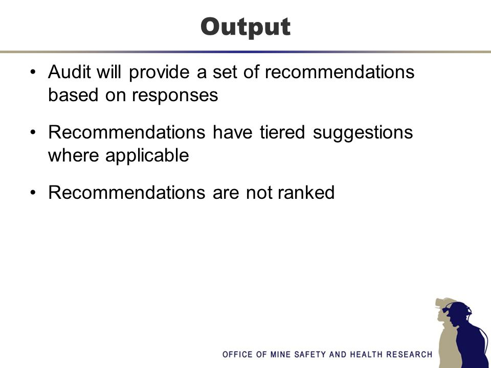 Audit will provide a set of recommendations based on responses Recommendations have tiered suggestions where applicable Recommendations are not ranked Output