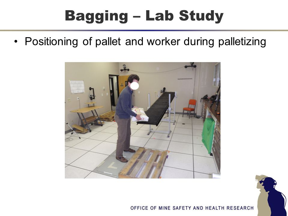 Positioning of pallet and worker during palletizing Bagging – Lab Study